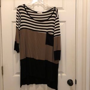Tops - Women's brown/black/white shirt